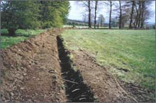 Cable trench excavation in Lanarkshire.